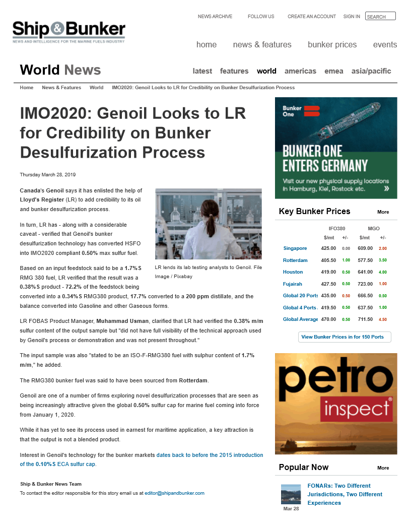 IMO2020: Genoil Looks to LR for Credibility on Bunker